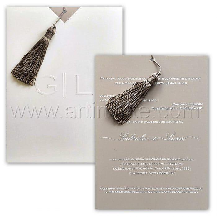 Convite de casamento Moderno - Fronha FR 071 - Cinza com pingente - Art Invitte Convites