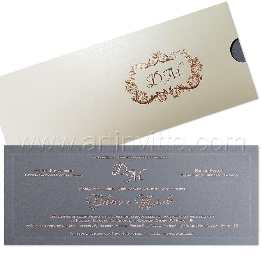Convite de casamento moderno Fronha FR 072