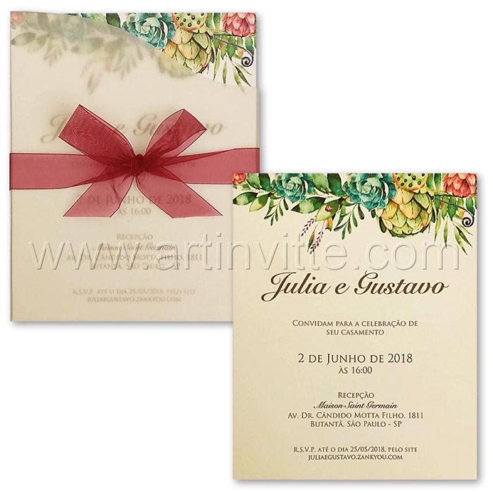Convite de casamento Fronha FR 075 - Floral e Vegetal