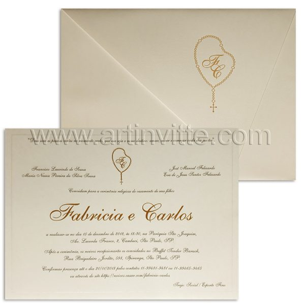 Convite de casamento tradicional Frisos DF-017