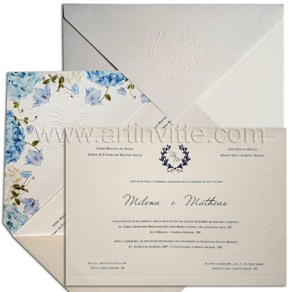Convite de casamento Veneza VZ 121 - floral romântico