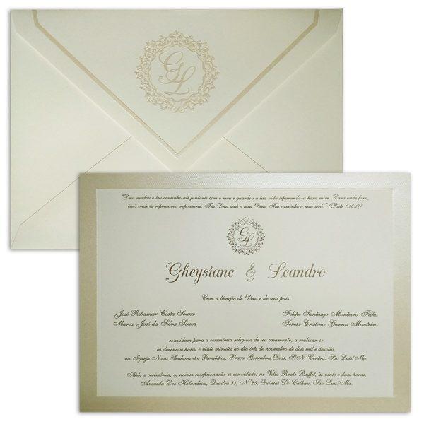 Convite de casamento Clássico - Veneza VZ 134 - Pérola e Prata