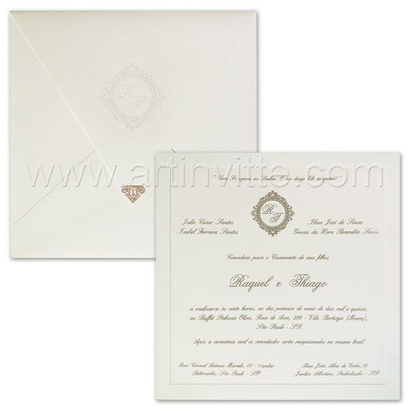 Convite de casamento Tradicional - Veneza VZ 140 - Branco e Prata com ponteira
