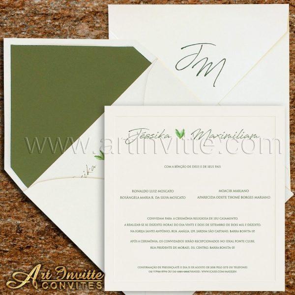 Convite de casamento Clássico - Veneza VZ 147 - Branco e Verde - Art Invitte Convites