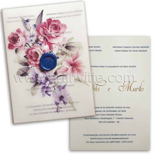 Convite de casamento Floral em Vegetal Haia HA 047