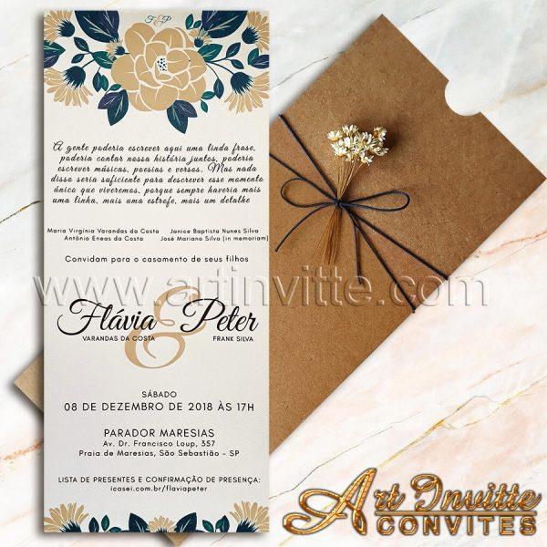 Convite de casamento rústico Fronha FR 067